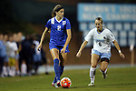 16 October 2015: Duke's Chelsea Burns (2) and North Carolina's Summer Green (6). The University of North Carolina Tar Heels hosted the Duke University Blue Devils at Fetzer Field in Chapel Hill, NC in a 2015 NCAA Division I Women's Soccer game. Duke won the game 1-0.