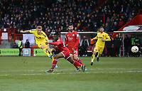 Fleetwood Town's Kyle Dempsey with a first half shot<br /> <br /> Photographer Rob Newell/CameraSport<br /> <br /> Emirates FA Cup Second Round - Crawley Town v Fleetwood Town - Sunday 1st December 2019 - Broadfield Stadium - Crawley<br />  <br /> World Copyright © 2019 CameraSport. All rights reserved. 43 Linden Ave. Countesthorpe. Leicester. England. LE8 5PG - Tel: +44 (0) 116 277 4147 - admin@camerasport.com - www.camerasport.com