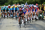 The peloton led by Darwin Atapuma (COL) UAE Team Emirates and Groupama-FDJ during Stage 13 of the 2018 Tour de France running 169.5km from Bourg d'Oisans to Valence, France. 20th July 2018. <br /> Picture: ASO/Alex Broadway | Cyclefile<br /> All photos usage must carry mandatory copyright credit (© Cyclefile | ASO/Alex Broadway)