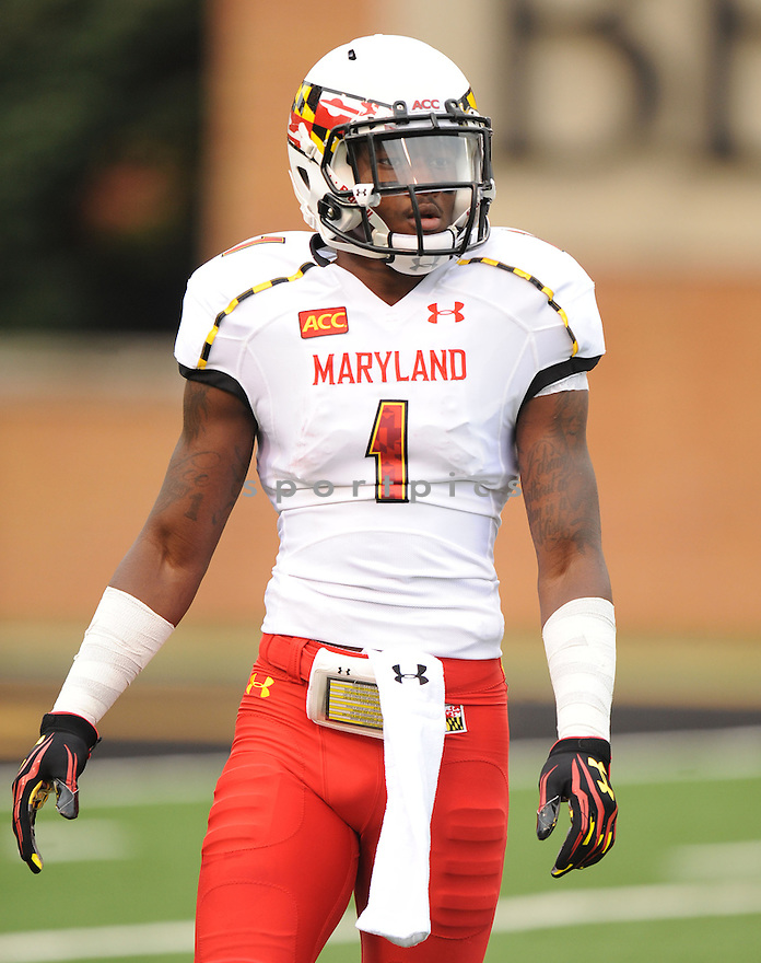Maryland Terrapins Stefon Diggs (1) during a game against the Wake Forest Demon Deacons on October 19, 2013 at BB&T Field in Winston-Salem, NC. Wake Forest beat Maryland 34-10.