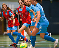 20190915– HALLE , BELGIUM : FP Halle-Gooik Girls B players (in red) are pictured during the Belgian Women's Futsal D1 match between FP Halle-Gooik A and FP Halle-Gooik B on Sunday 15th 2019 at the De Bres Sport Complex in Halle, Belgium. PHOTO SPORTPIX.BE | Sevil Oktem
