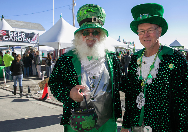 Bill Robinson and Bob Scheidt during the 28th annual Rocky Mountain Oyster Fry and St. Patrick's Day Parade in Virginia City, Nevada on Saturday March 16, 2019.