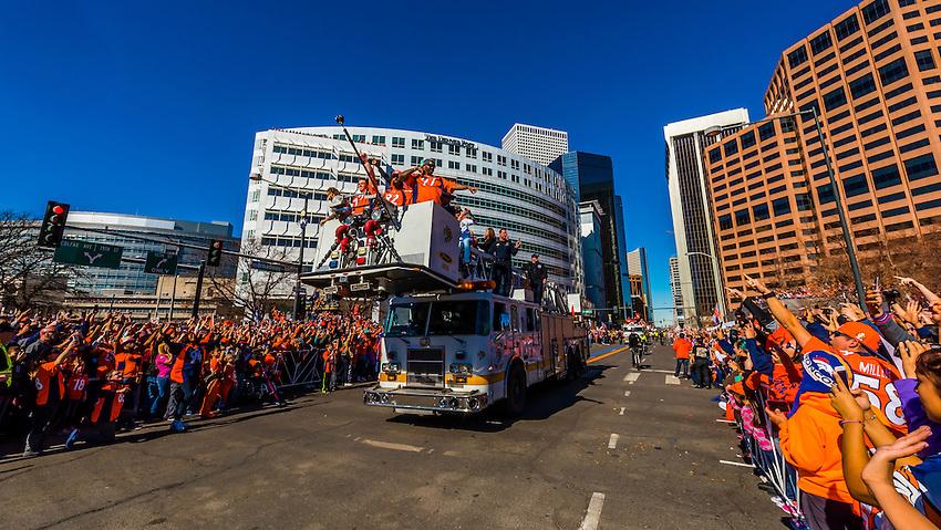 Denver Broncos Derek Wolfe, Antonio Smith, Sylvester Williams and Malik Jackson (defensive linemen), Denver Broncos Super Bowl 50 Victory Parade, Downtown Denver, Colorado USA.