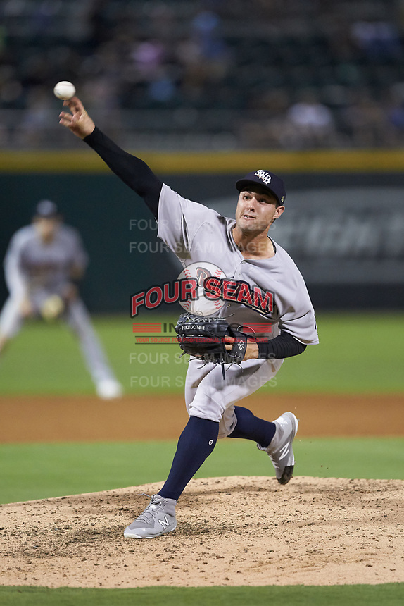 Scranton/Wilkes-Barre RailRiders relief pitcher J.P. Feyereisen (18) delivers a pitch to the plate against the Charlotte Knights at BB&T BallPark on August 14, 2019 in Charlotte, North Carolina. The Knights defeated the RailRiders 13-12 in ten innings. (Brian Westerholt/Four Seam Images)