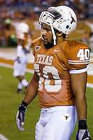 04 November 2006: Texas defender Robert Killebrew warms up before the Longhorns 36-10 victory over the Oklahoma State University Cowboys at Darrel K Royal Memorial Stadium in Austin, Texas.