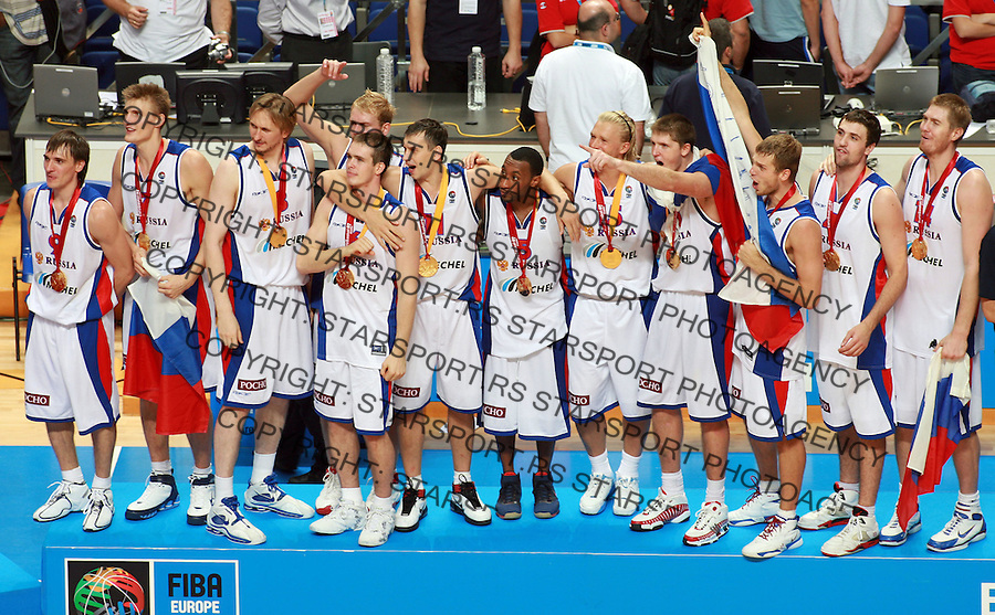 Sep 16, 2007 - Madrid, Spain - Russian national basketball team players celebrate their victory over Spain at final match between Spain and Russia in Madrid. Russia beat Spain 60:59 and became European basketball champions.  (credit image: © Pedja Milosavljevic/ZUMA Press)