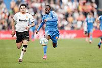 8th February 2020; Coliseum Alfonso Perez, Madrid, Spain; La Liga Football, Club Getafe Club de Futbol versus Valencia; Djene (Getafe CF) chaes the run from Maxi Gomez (Valencia CF)