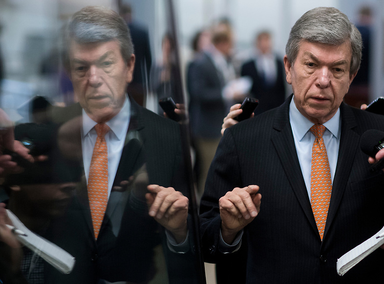 UNITED STATES - MARCH 14: Sen. Roy Blunt, R-Mo., speaks with reporters as he arrives for the Senate Republicans' policy lunch in the Capitol on Tuesday, March 14, 2017. (Photo By Bill Clark/CQ Roll Call)