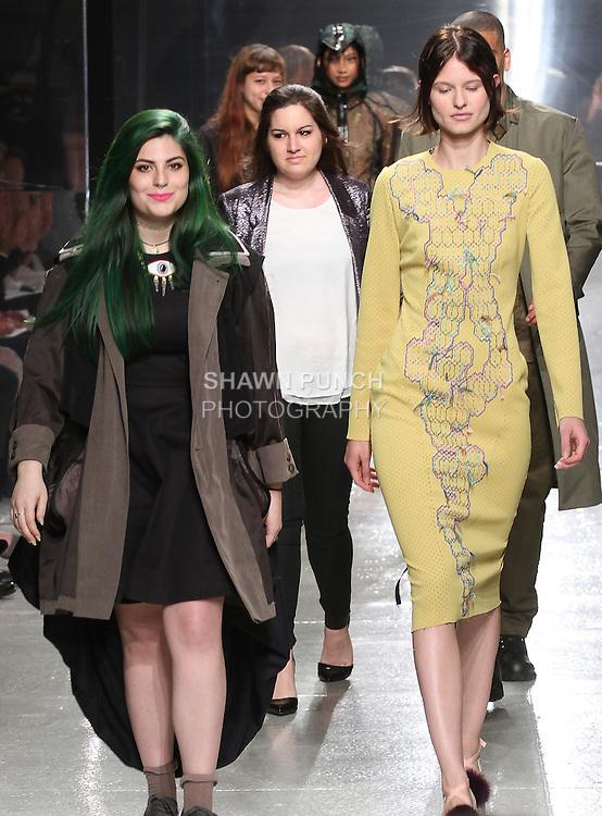 Graduating fashion student Lauren Nahigian, walks runway at the close of the 2015 Pratt Institute annual fashion show, on May 7, 2015.
