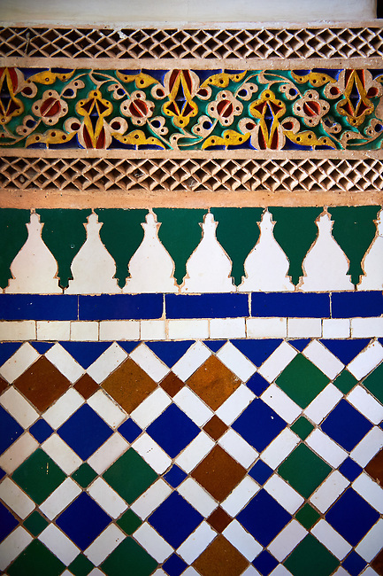 Zellige Tile decorative panels.The Petite Court, Bahia Palace, Marrakesh, Morroco