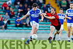 Stephen O'Brien Kenmare Shamrocks in action against Ryan Carroll Kerins O'Rahilly's in the Kerry Senior Football County Championship Round One between Kenmare Shamrocks and Kerins O'Rahilly's at Austin Stack Park Tralee.
