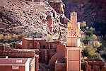 Village with mosque in the Ounila Valley, Morocco.