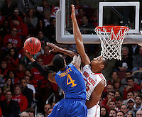 Ohio State Buckeyes center Trey McDonald (55) gets up to block a shot by Delaware Blue Hens guard Jarvis Threatt (4) during the second half of the NCAA men's basketball game at Value City Arena on Wednesday, December 18, 2013. Ohio State beat Delaware, 76-64. (Columbus Dispatch photo by Jonathan Quilter)