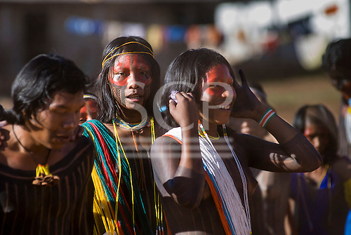 Pará State, Brazil. Aldeia Kokraimoro (Kayapo). Girls and young men dancing during the Jabuti Festival.
