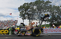 Jun. 2, 2012; Englishtown, NJ, USA: NHRA top fuel dragster driver Morgan Lucas during qualifying for the Supernationals at Raceway Park. Mandatory Credit: Mark J. Rebilas-