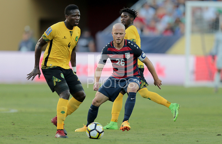 Santa Clara, CA - Wednesday July 26, 2017: Ladale Richie, Michael Bradley  during the 2017 Gold Cup Final Championship match between the men's national teams of the United States (USA) and Jamaica (JAM) at Levi's Stadium.