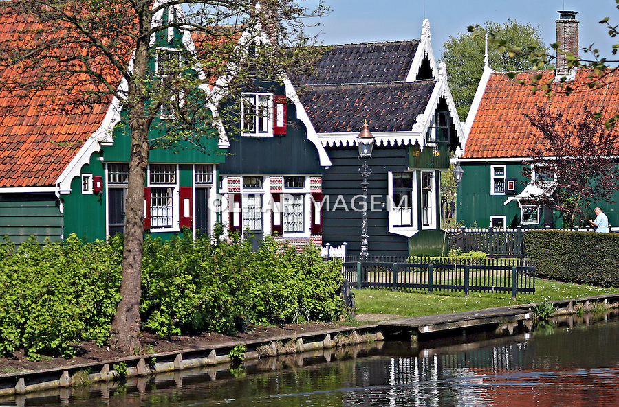 Casas tradicionais holandesas. Zaanse Schans, Holanda. 2007. Foto:Marcio Nel Cimatti.