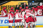 ADRIAN, MI - MARCH 18: Head coach Kevin Houle of Plattsburgh State University speaks with his players during the Division III Women's Ice Hockey Championship held at Arrington Ice Arena on March 19, 2017 in Adrian, Michigan. Plattsburgh State defeated Adrian 4-3 in overtime to repeat as national champions for the fourth consecutive year. by Tony Ding/NCAA Photos via Getty Images)