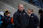 AFC Fylde 1, Aldershot Town 0, 14/03/2020. Mill Farm, National League. Home team manager Jim Bentley watches the pre-match rituals before AFC Fylde took on Aldershot Town in a National League game at Mill Farm, Wesham. The fixture was played against the backdrop of the total postponement of all Premier League and EFL football matches due to the the coronavirus outbreak. The home team won the match 1-0 with first-half goal by Danny Philliskirk watched by a crowd of 1668. Photo by Colin McPherson.