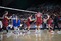 STANFORD, CA - March 2, 2019: Jordan Ewert, Kyler Presho, Jaylen Jasper, Paul Bischoff, Kyle Dagostino at Maples Pavilion. The Stanford Cardinal defeated BYU 25-20, 25-20, 22-25, 25-21.