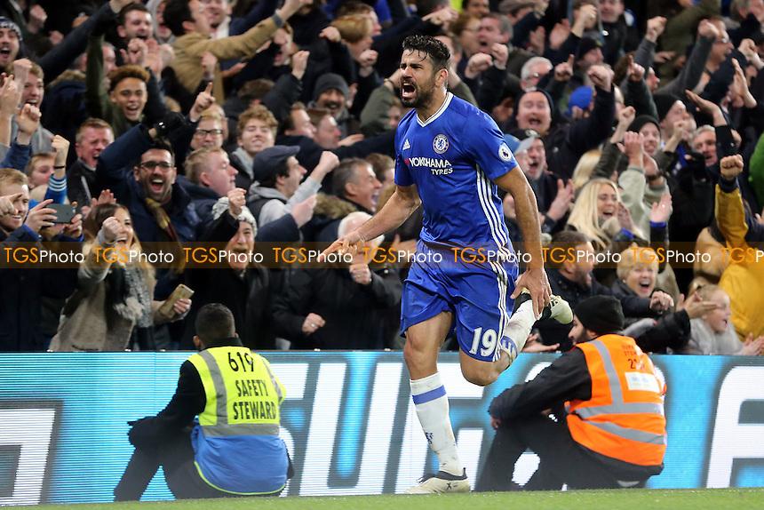 Diego Costa of Chelsea celebrates scoring the fourth goal during Chelsea vs Stoke City, Premier League Football at Stamford Bridge on 31st December 2016