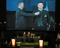 Mark Stafford chats with Wellington's newest All Black Dane Coles at the Wellington Rugby Union Tui Awards at the Embassy Theatre, Wellington, New Zealand on Tuesday, 30 October 2012. Photo: Dave Lintott / lintottphoto.co.nz