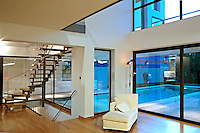 modern contemporary living room with mezzanine