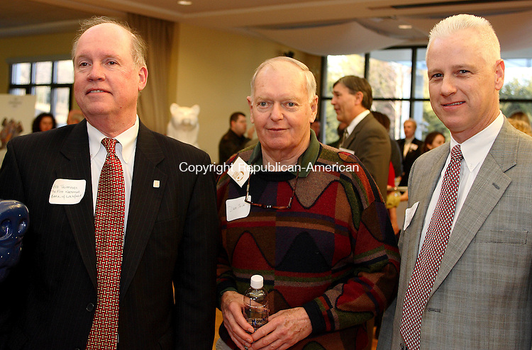 Litchfield, CT-02 March 28 2007-032807MK01 (From Left) Robert Teittinen, Senior Vice President of the First National Bank of Litchfield, David Childs, Chair of the Economic Development Comission of New Hartford and Stephen Reilly, Senior Vice President of the Northwest Community Bank gathered for the  Bare Bear Party at the Litchfield Community Center. Michael Kabelka Republican / American.((From Left) Robert Teittinen, Senior V.P. from the First National Bank of Litchfield, David Childs, Chair of the Economic Development Comission of New Hartford and Stephen Reilly, Senior Vice President of the Northwest Community Bank ) CQ