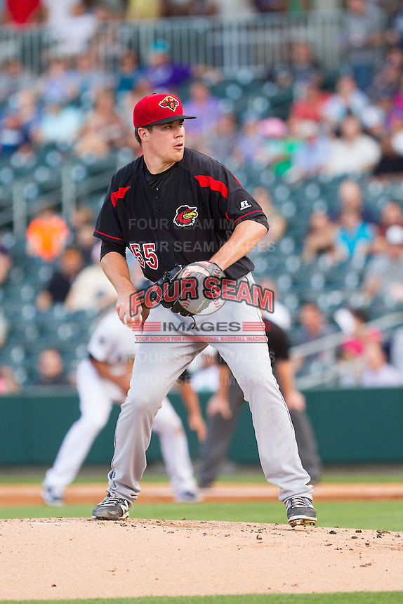 Rochester Red Wings starting pitcher Trevor May (55) in action against the Charlotte Knights at BB&T Ballpark on June 5, 2014 in Charlotte, North Carolina.  The Knights defeated the Red Wings 7-6.  (Brian Westerholt/Four Seam Images)