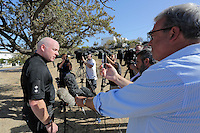 Pictured: Detective Inspector Jon Cousins of South Yorkshire Police briefs the media at the start of day 21 of the search at the second site in Kos, Greece. Sunday 16 October 2016<br />