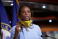 United States Delegate Stacey PLaskett (Democrat of the Virgin Islands) speaks during a news conference with Speaker of the United States House of Representatives Nancy Pelosi (Democrat of California) regarding the vote by mail provision in the Heroes Act at the United States Capitol in Washington D.C., U.S. on Thursday, May 21, 2020. Credit: Stefani Reynolds / CNP/AdMedia