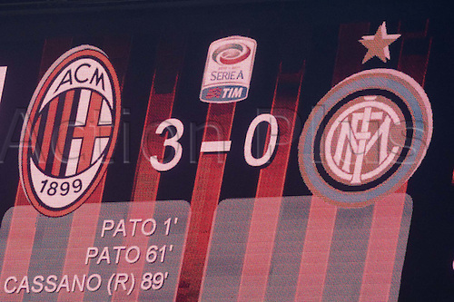 02.04.2011 Alexandre Pato scores two and Antonio Cassano converts a penalty against Inter in what could potentially be a title deciding result. Picture shows the final score at the San Siro.