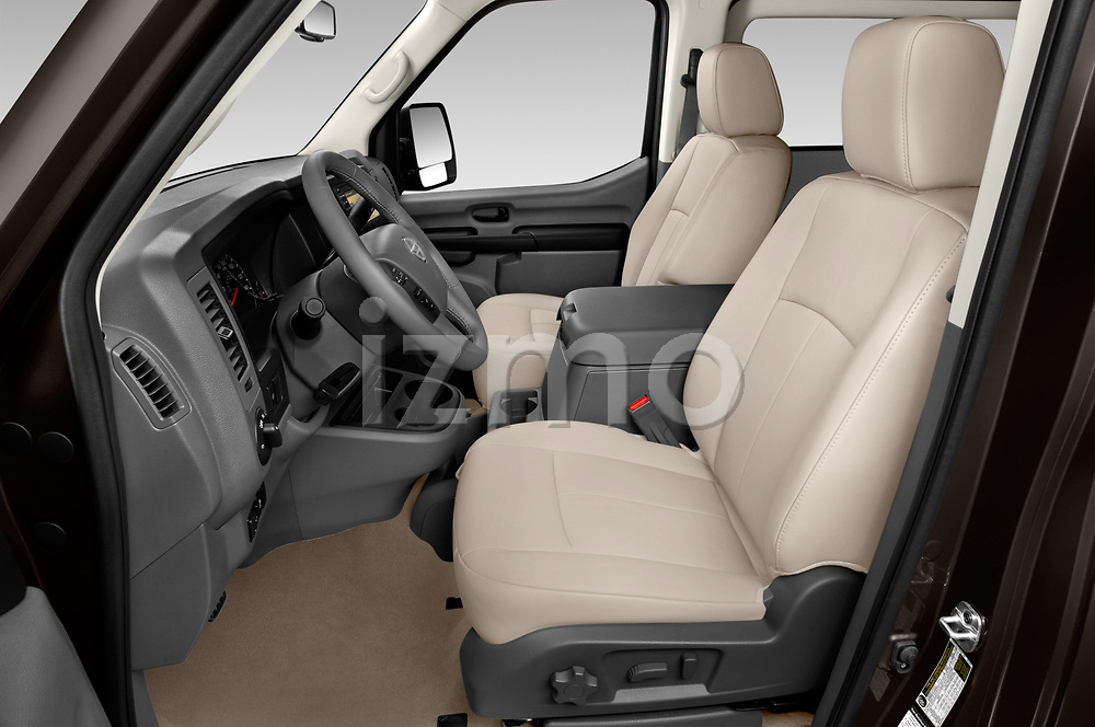 Front seat view of a 2019 Nissan NV Passenger SL 4 Door Passenger Van front seat car photos