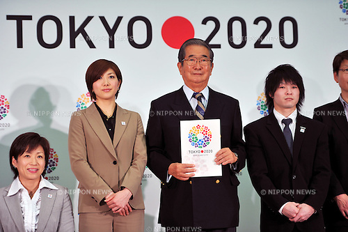 (L to R) Wakako Tsuchida, Reiko Shiota,  Shintaro Ishihara Governor of Tokyo, Kohei Uchimura, .FEBRUARY 16, 2012 - : Press conference for the 2020 Olympic and Paralympic Games candidate Tokyo applies application file, Tokyo, Japan. (Photo by Jun Tsukida/AFLO SPORT) [0003].