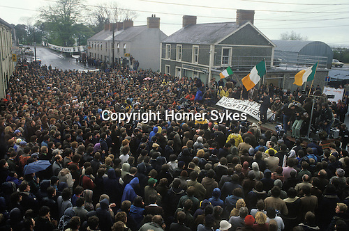 The Troubles Northern Ireland. Victory to the Hunder Strikers demonstration. Village  near belfast 1980s UK