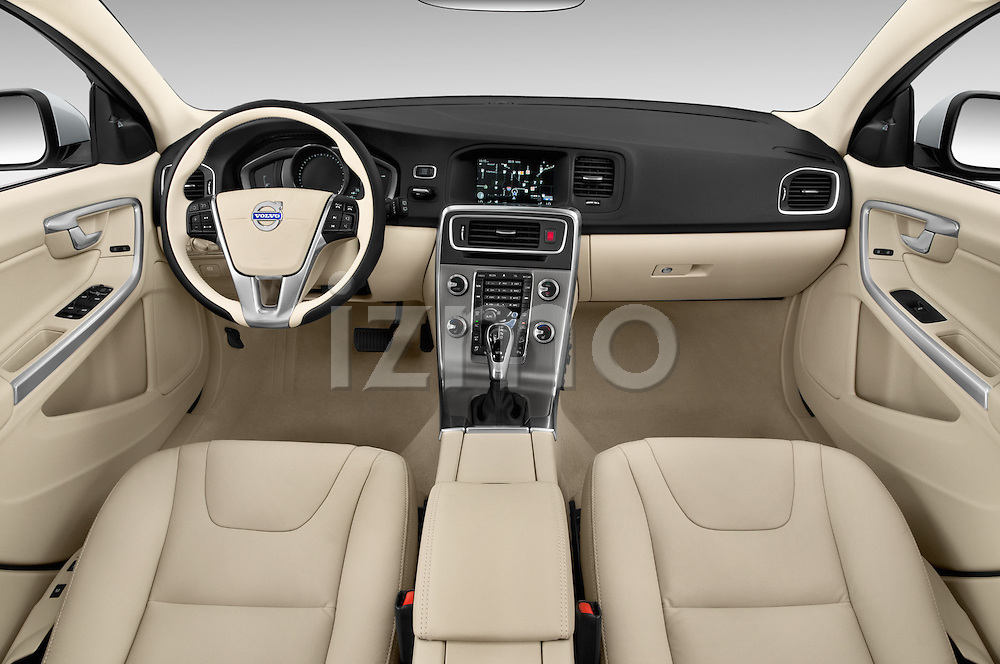 Stock photo of straight dashboard view of 2017 Volvo V60 T5 5 Door Wagon Dashboard