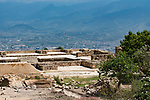The House of the Altars or Casa de los Altares in the ruins of the Zapotec city of Atzompa, near Oaxaca, Mexico.  In the background is the Central Valley and city of Oaxaca.
