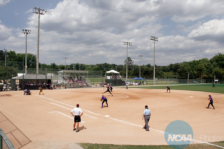 23 MAY 2005: Overview wide angle shot of pitcher Janet Nagle (6) of the University of St. Thomas Tommies in action against the Salisbury University Seagulls during the NCAA Division III Women's Softball Championship hosted by Peace College and held at the Walnut Creek Softball Complex in Raleigh, N.C. St. Thomas defeated Salisbury 9-3. Grant Halverson/NCAA Photos