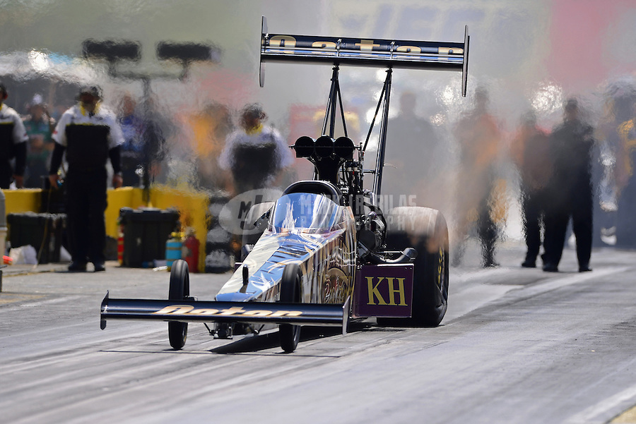 Sept 9, 2012; Clermont, IN, USA: NHRA top fuel dragster driver Khalid Albalooshi during the US Nationals at Lucas Oil Raceway. Mandatory Credit: Mark J. Rebilas-