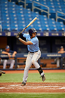 Kaleo Johnson (21) at bat during the Tampa Bay Rays Instructional League Intrasquad World Series game on October 3, 2018 at the Tropicana Field in St. Petersburg, Florida.  (Mike Janes/Four Seam Images)