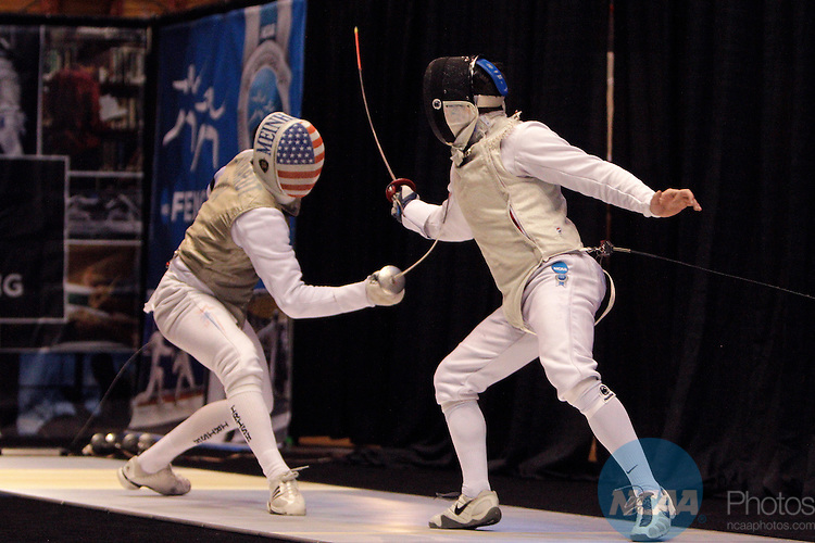 23 MAR 2014:  Gerek Meinhardt, left, of Notre Dame, fences against David Willette, of Penn State, in the foil event finals during the Division I Men's Fencing Championship held at St. John Arena on the Ohio State University campus in Columbus, OH. Meinhardt won the championship by a score of 15-12. Jay LaPrete/NCAA Photos