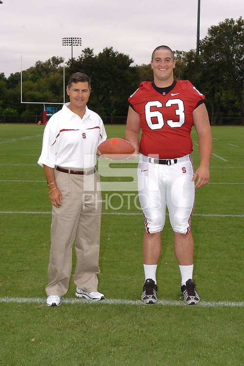 7 August 2006: Stanford Cardinal head coach Walt Harris and Chris Marinelli during Stanford Football's Team Photo Day at Stanford Football's Practice Field in Stanford, CA.