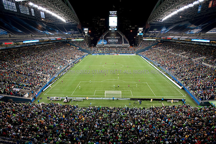3/28/2009--Seattle, WA, USA..A soldoiut crowd at the game against Real Salt Lake at Qwest Field in Seattle. The Seattle Sounders FC beat Real Salt Lake city 2-0 in their second game of the season played to a soldout crowd of 28,548 at Qwest Field..©2009 Stuart Isett. All rights reserved.