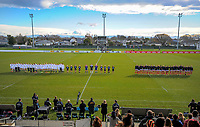 The teams line up before kickoff in the 2017 International Women's Rugby Series rugby match between England Roses and Canada at Rugby Park in Christchurch, New Zealand on Tuesday, 13 June 2017. Photo: Dave Lintott / lintottphoto.co.nz