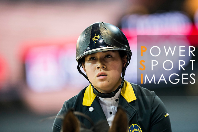 Raena Leung of Hong Kong riding Orphee du Granit in action during the Hong Kong Jockey Club Trophy competition as part of the Longines Hong Kong Masters on 13 February 2015, at the Asia World Expo, outskirts Hong Kong, China. Photo by Victor Fraile / Power Sport Images