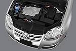 High angle engine detail of a  2009 Volkswagen Jetta TDI.