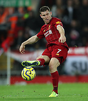 2nd January 2020; Anfield, Liverpool, Merseyside, England; English Premier League Football, Liverpool versus Sheffield United; James Milner of Liverpool  passes the ball forward  - Strictly Editorial Use Only. No use with unauthorized audio, video, data, fixture lists, club/league logos or 'live' services. Online in-match use limited to 120 images, no video emulation. No use in betting, games or single club/league/player publications