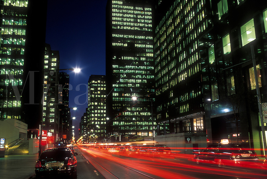 Canada, Ontario, Toronto, financial district at night