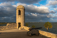 Historic Castillo San Marcos in late afternoon light, St. Augustine, Florida. <br />