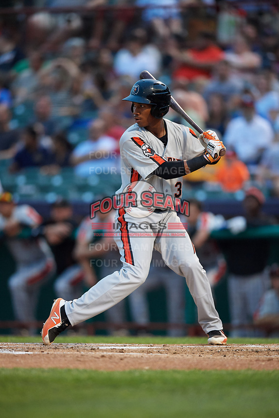 Aberdeen IronBirds second baseman Jean Carmona (37) at bat during a game against the Tri-City ValleyCats on August 27, 2018 at Joseph L. Bruno Stadium in Troy, New York.  Aberdeen defeated Tri-City 11-5.  (Mike Janes/Four Seam Images)